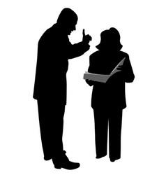 boss giving order or warning female employee vector image vector image
