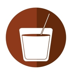 Drawing glass cocktail drink straw shadow vector