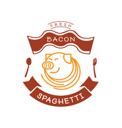 fresh bacon spaghetti logo with pig and noodle vector image vector image