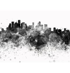 Houston skyline in black watercolor on white vector image vector image