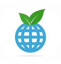 leaf and globe logo or icon vector image