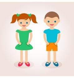Little cute boy and girl vector