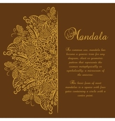 mandala Brown background Gold ornament vector image vector image