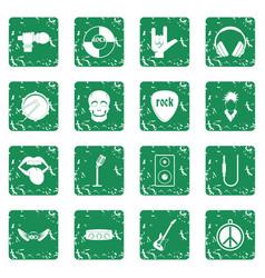 rock music icons set grunge vector image