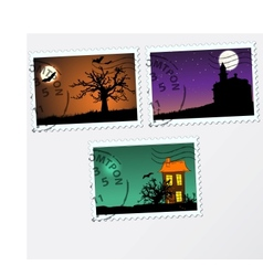 Set of post stamps Halloween vector image vector image
