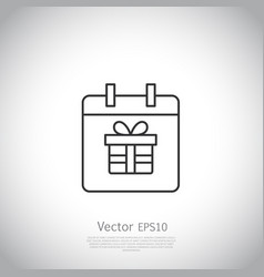 thin line icon gift box with ribbon inside vector image vector image