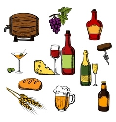 Alcohol drinks beverages and food vector image vector image