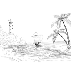 Beach sea and boat sketch vector image
