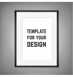 Blank framed poster on a wall template vector image