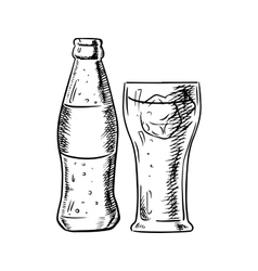 Bottle of soda and filled glass with ice vector image