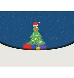 Christmas tree with gifts in a flat style vector image