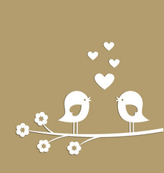 cute birds with hearts cutting from white paper vector image vector image