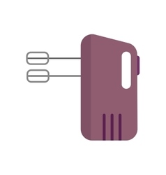 Electrical hand mixer and dishware isolated vector image