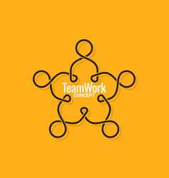 teamwork logo business line concept on yellow vector image
