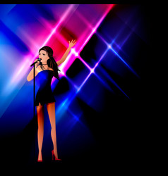 a girl on stage sings into a microphone vector image