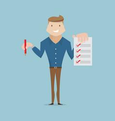 businessman with checklist cartoon vector image