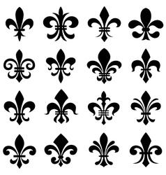 classic fleur de lys symbol icon set vector image