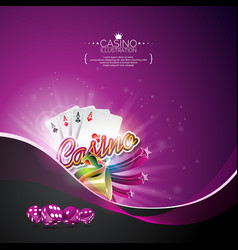 on a casino theme with poker cards and gambling vector image vector image