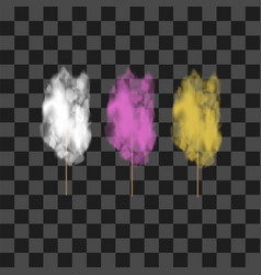 set of colored sweet cotton candy vector image