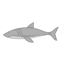 shark icon monochrome vector image vector image