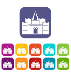 Residential mansion with towers icons set flat vector