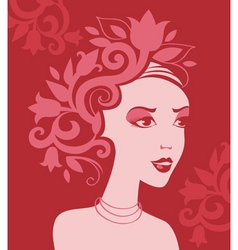 woman silhouette in flowers vector image vector image