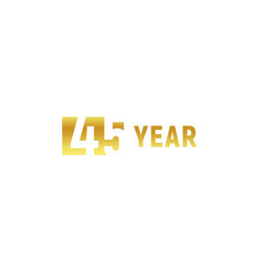 45 year happy birthday gold logo on white vector image