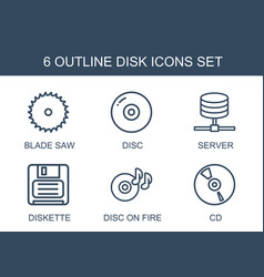 6 disk icons vector