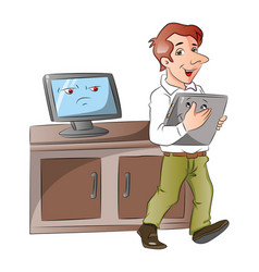 a cartoon monitor looking at businessman carrying vector image