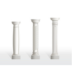antique columns set isolated on white background vector image