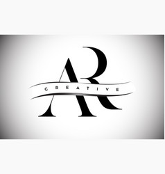 Ar letter logo with serif letter and creative cut vector