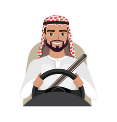 Arab man driving a car arab man clothing in vector