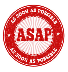 asap as soon as possible sign or stamp vector image