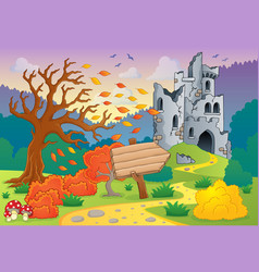 Autumn theme with castle ruins 4 vector