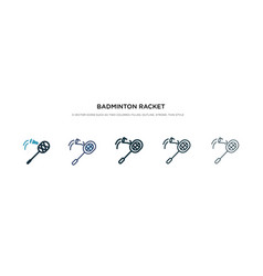 Badminton racket and feather icon in different vector