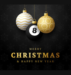 billiard merry christmas and happy new year vector image