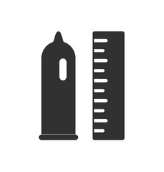 Black icon on white background condom and ruler vector