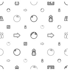 bowling icons pattern seamless white background vector image