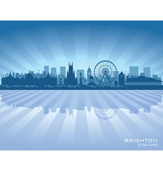 Brighton england skyline with reflection in water vector
