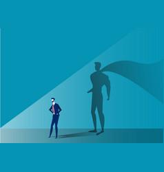 Business man with big shadow superhero on blue bac vector