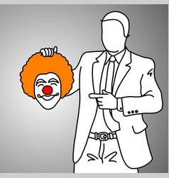 businessman holding smiling joker head vector image