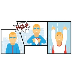 Businessman Transformation Super Hero Character vector