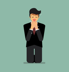 Businesssman is on his knees and prays to god vector