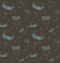 cafe food set black and blue fast-food vector image