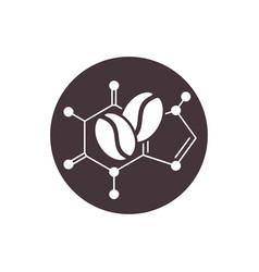 Caffeine icon molecular structure with coffee vector