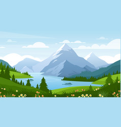 cartoon flat panorama spring summer beautiful vector image