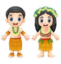 Cartoon hawaiian couple wearing traditional costum vector