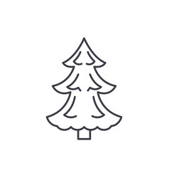 christmas tree line icon concept christmas tree vector image