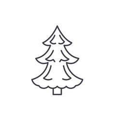 christmas tree line icon concept christmas tree vector image