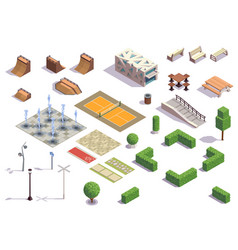city park isometric set vector image